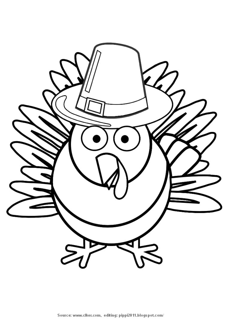 Black and white turkey coloring page