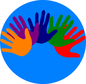 Volunteering hands various colors clip art at vector