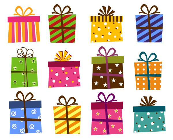 Wrapped birthday presents clipart