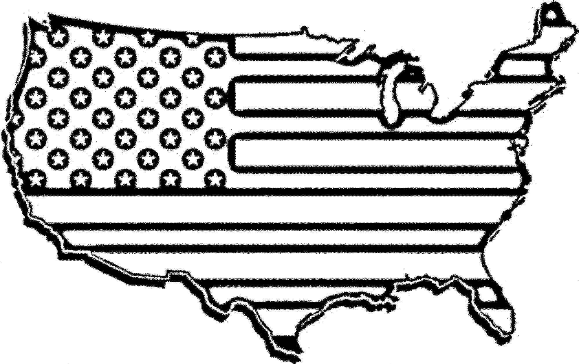 American flag clipart to color