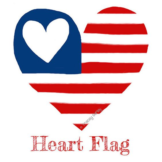 American flag heart original art download flag clip art