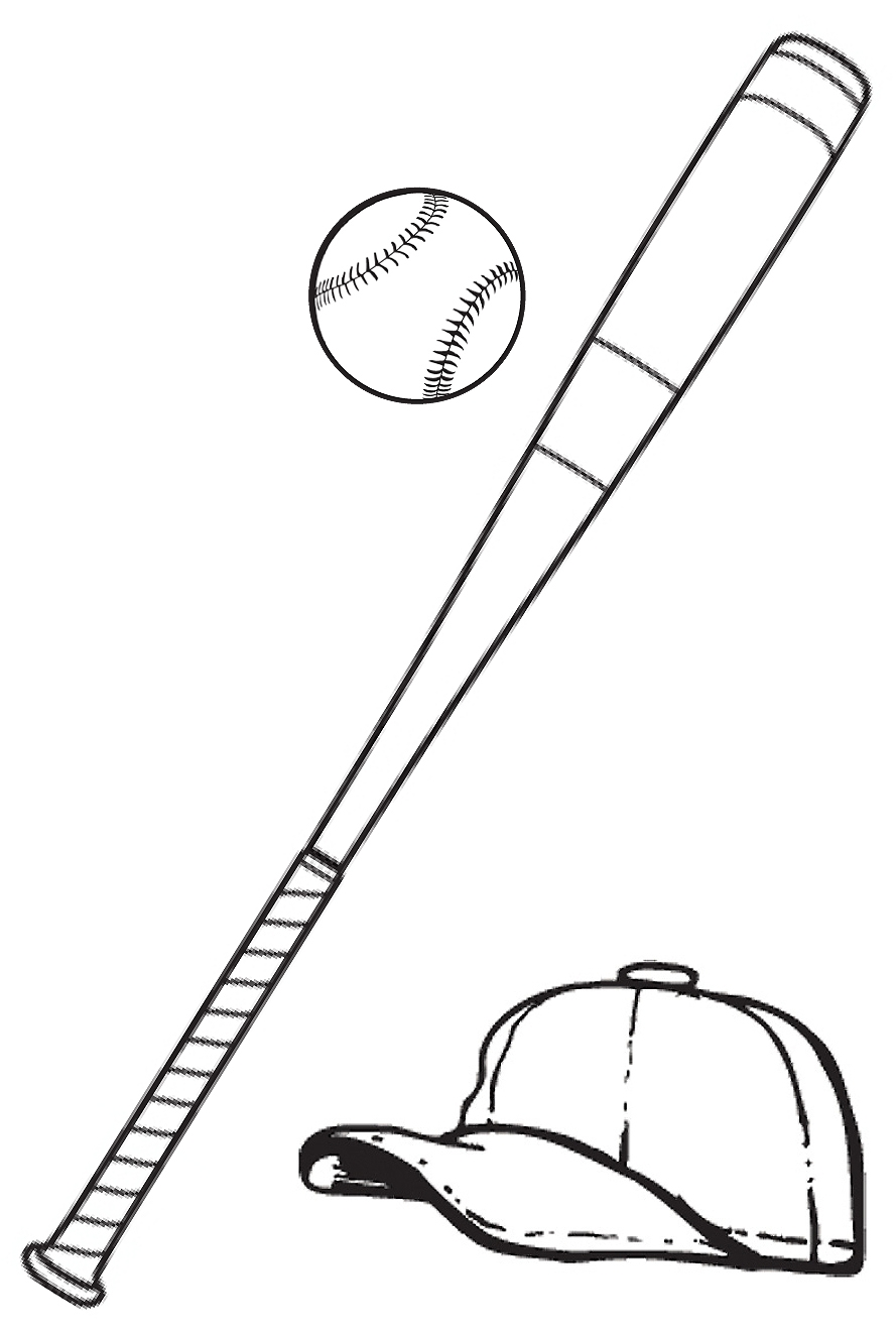 Baseball bat template. Black and white clipart