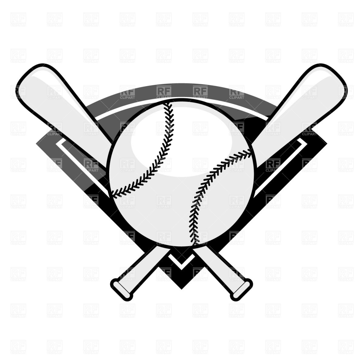 Bat  black and white crossed baseball bats clipart black and white 2