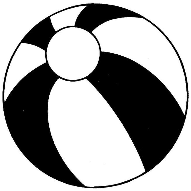 Beach  black and white beach ball clip art black and white clipart