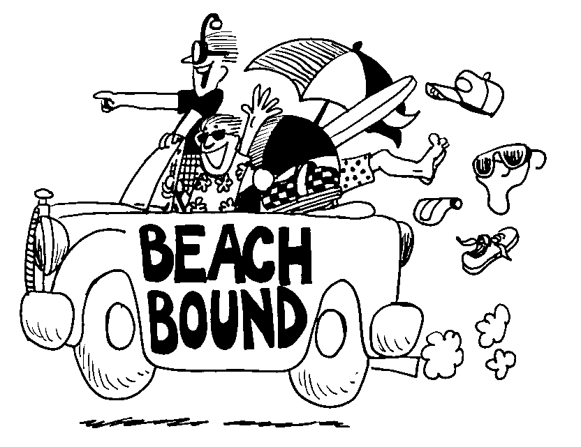 Beach  black and white clip art beach people clipart