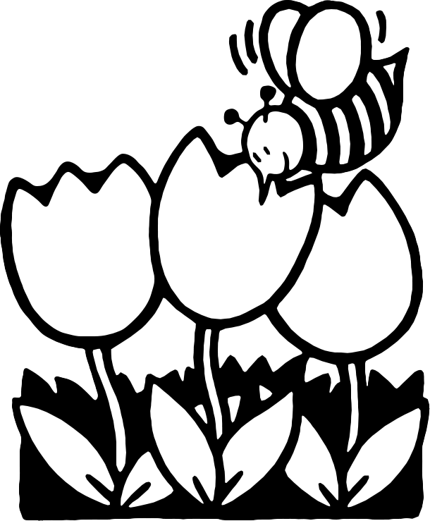 Bee  black and white cartoon flower clipart black and white
