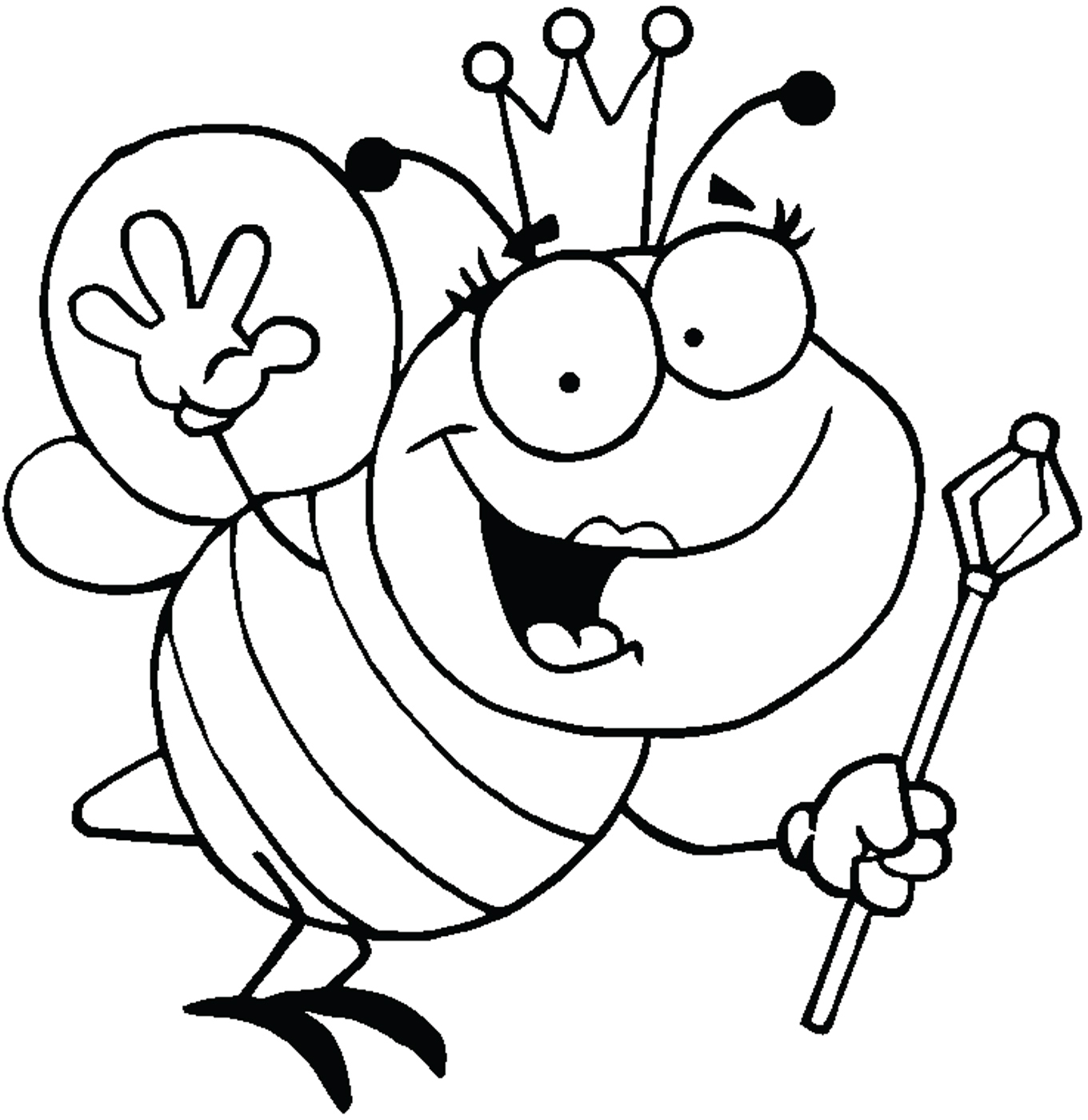 Bee  black and white queen clip art black and white free clipart images