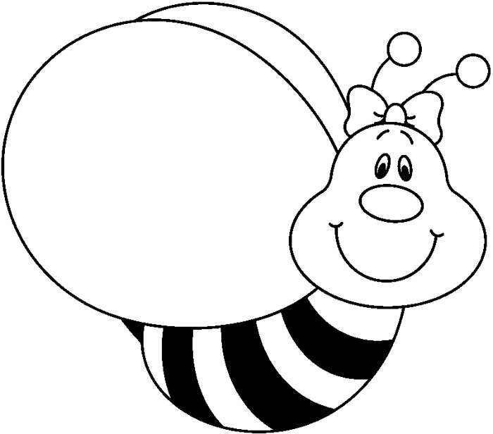 Bee  black and white white bees clipart