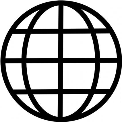 Black and white globe clipart