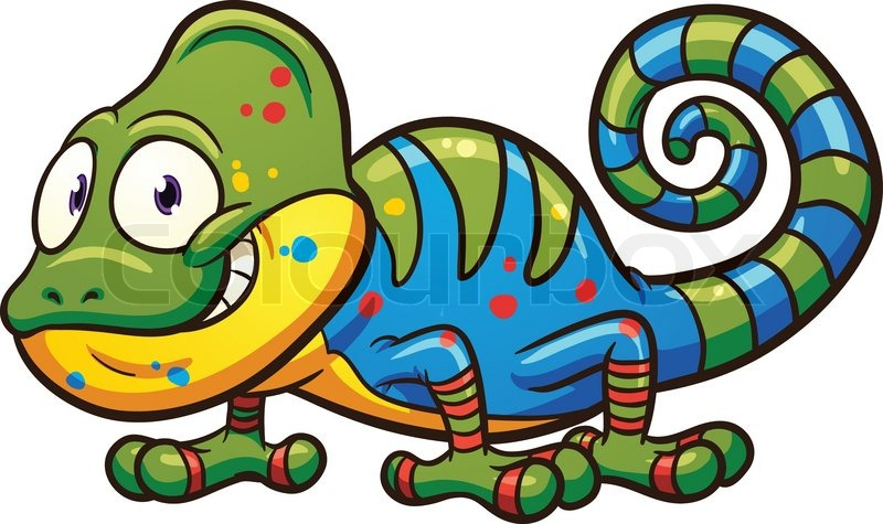 Cartoon chameleon vector clip art illustration with simple