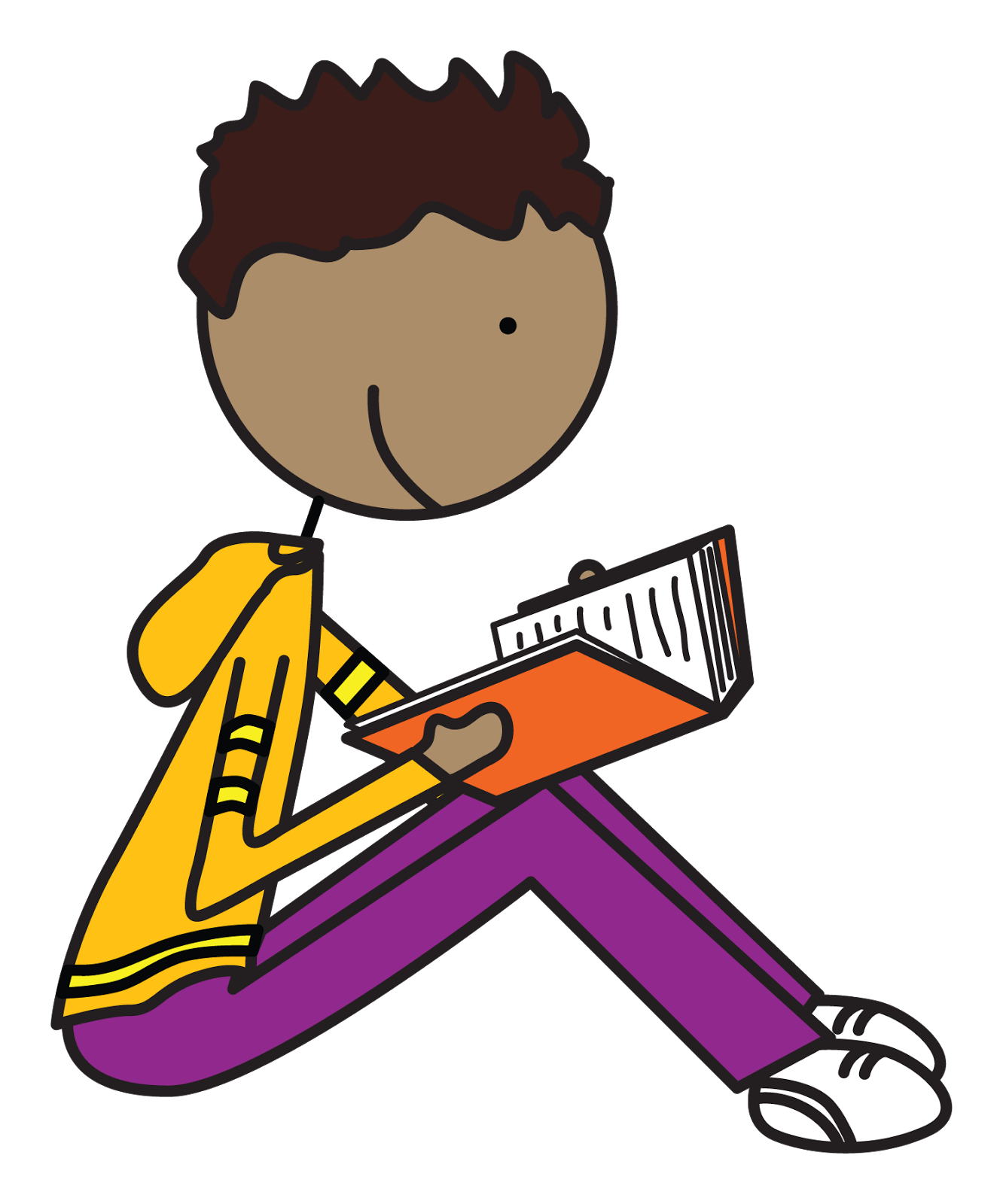 Child reading adult reading clipart