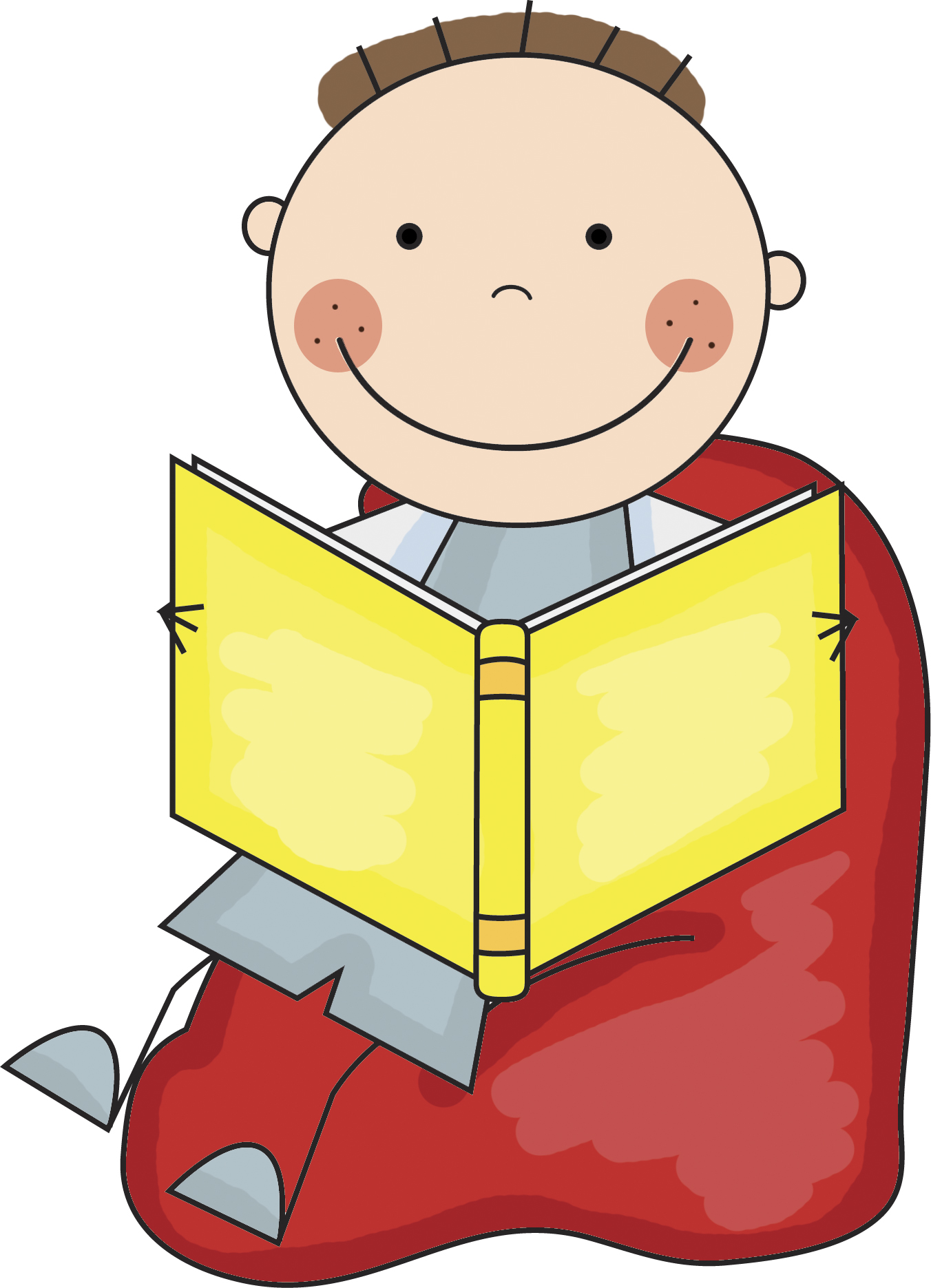 Child reading boy reading in bed clipart