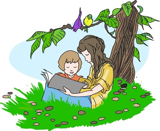 Child reading children reading book clipart