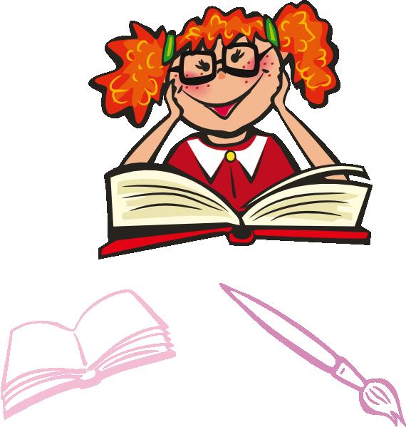 Child reading clip art at vector clip art