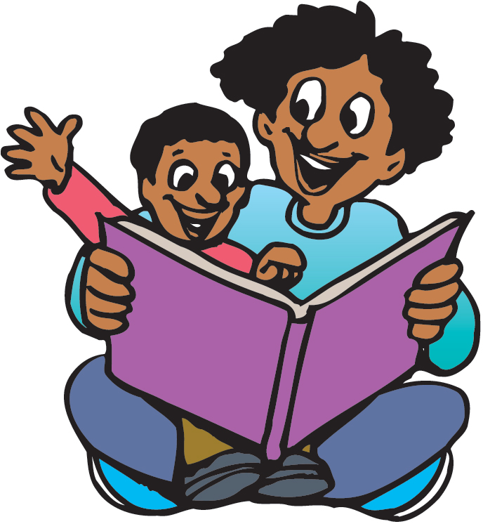 Child reading parent reading clipart 3