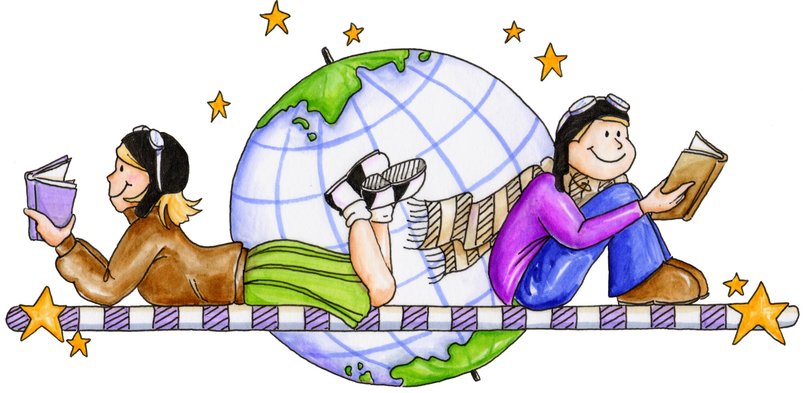 Child reading reading cd clipart