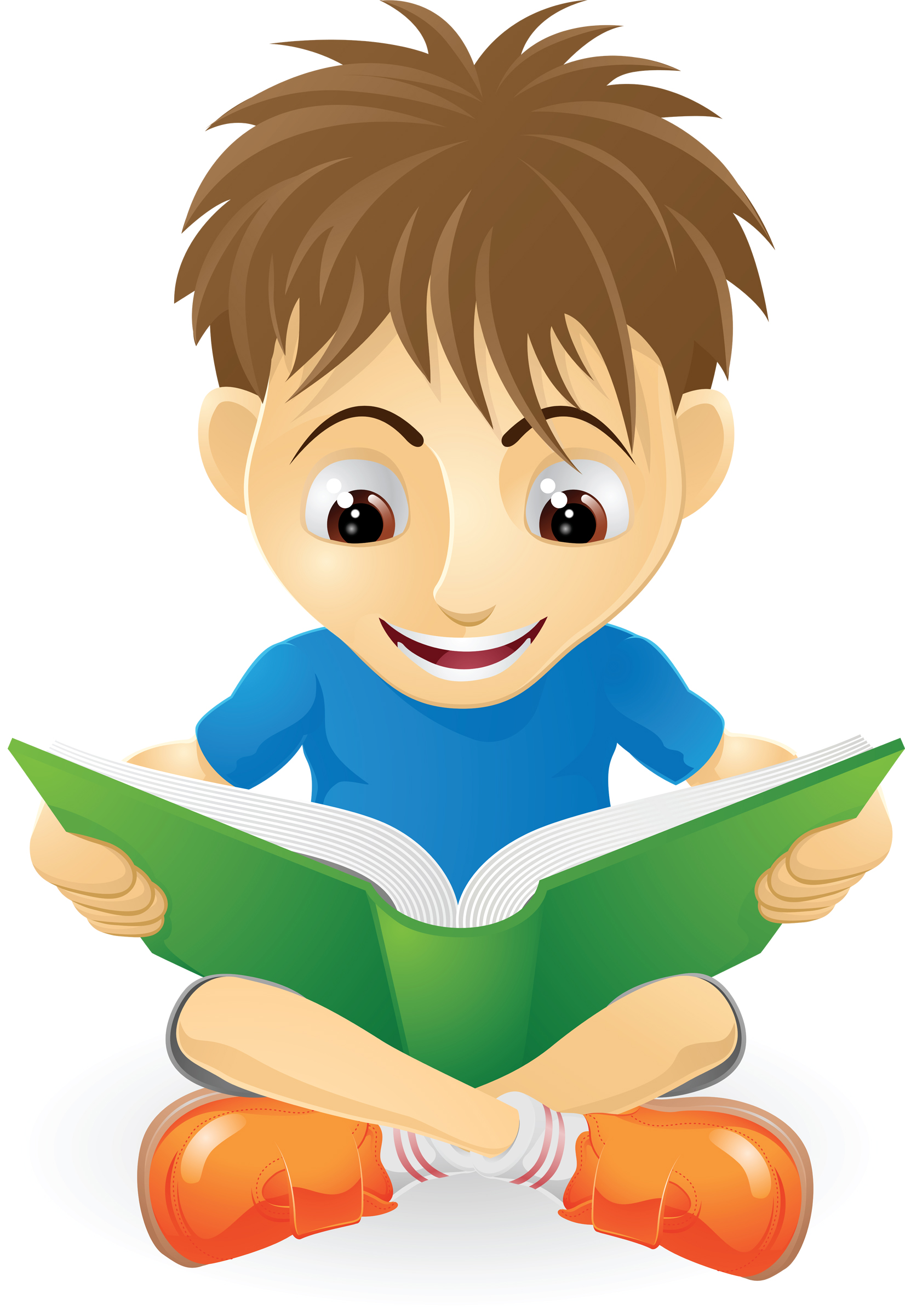 Child reading reading clipart 7