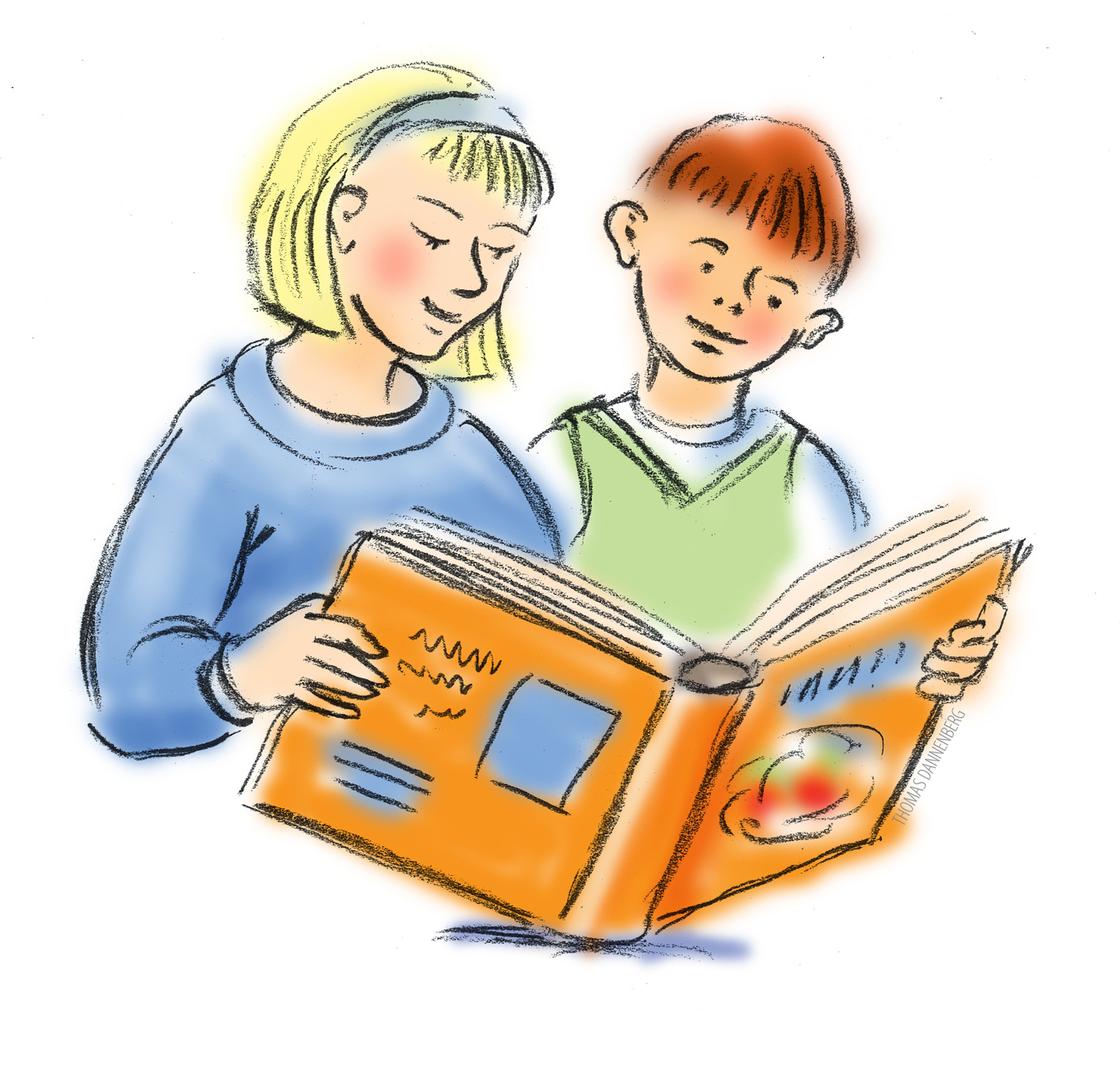 Child reading reading clipart