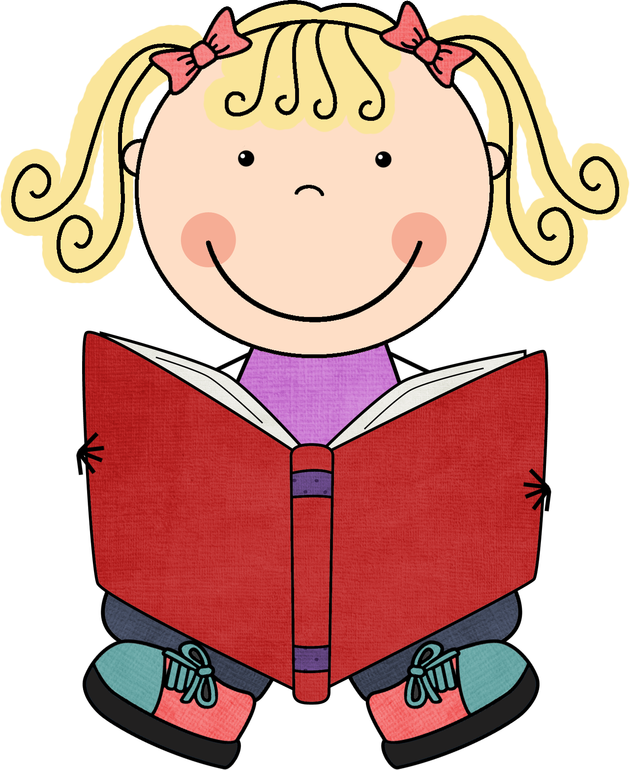 Child reading reading for kids clip art