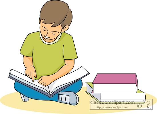 Child reading reading free clipart 2