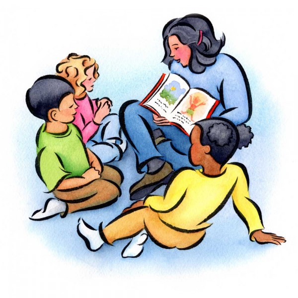 Child reading reading time clipart 3