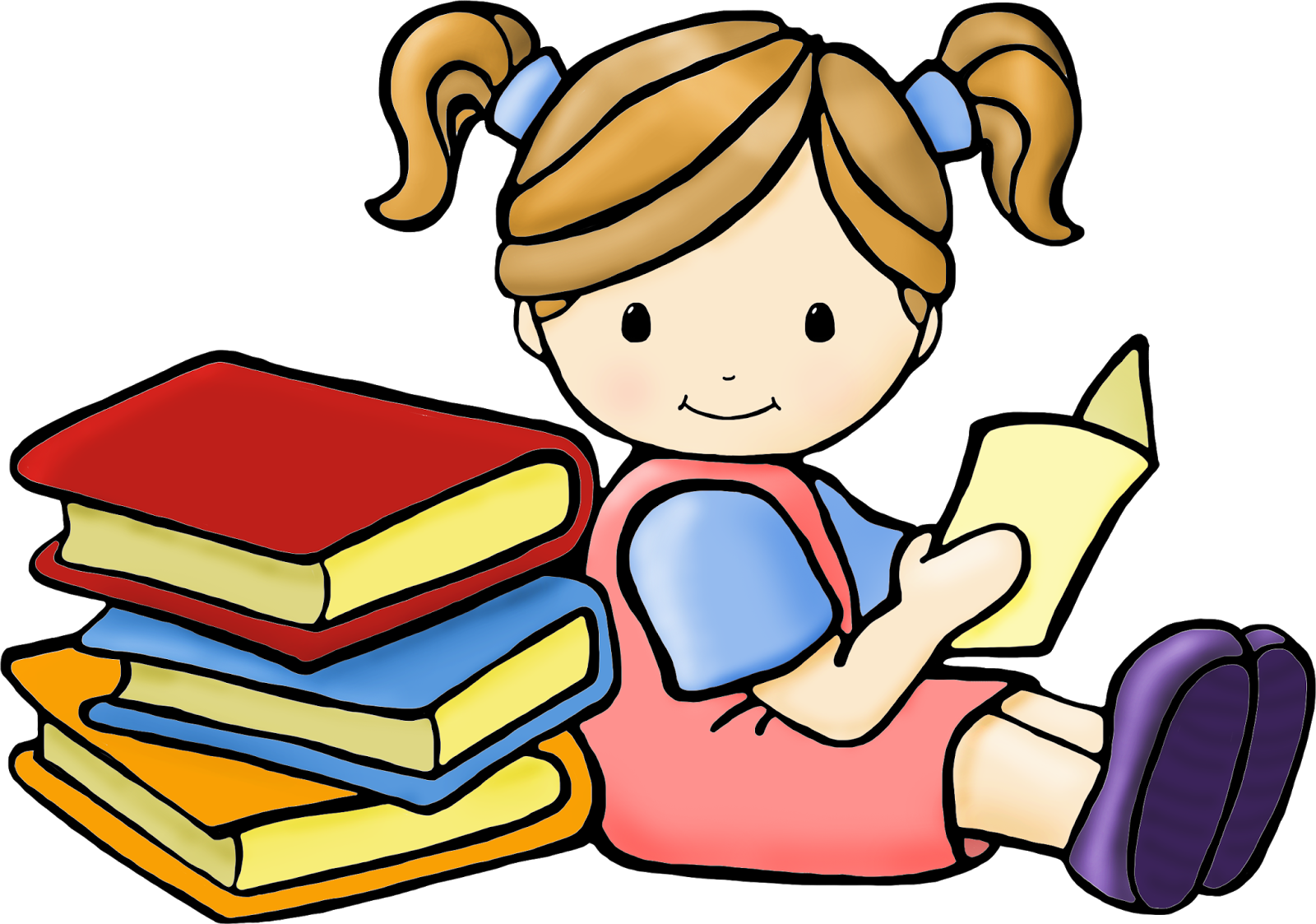 Child reading reading time clipart