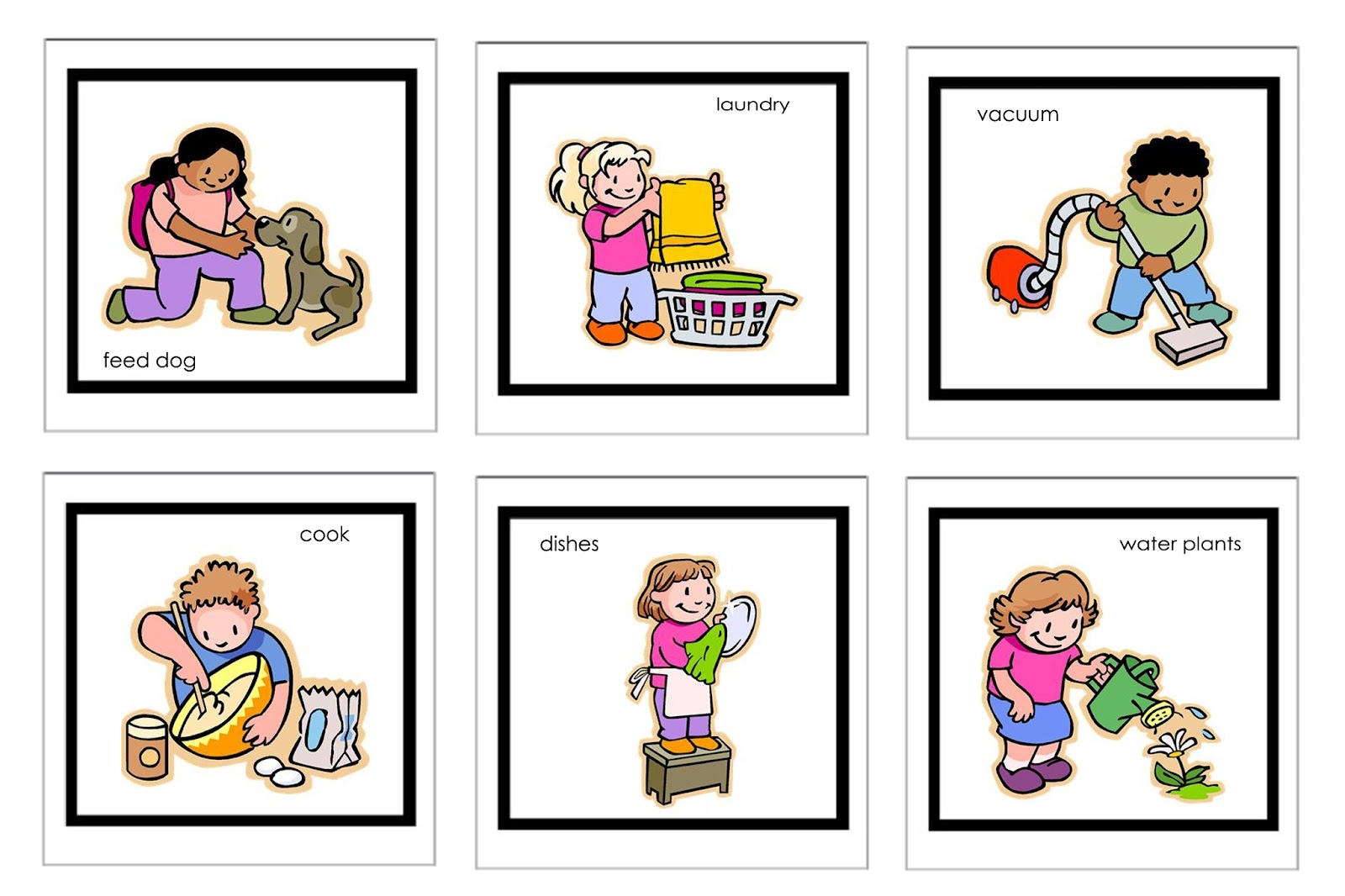 Children doing household chores clipart