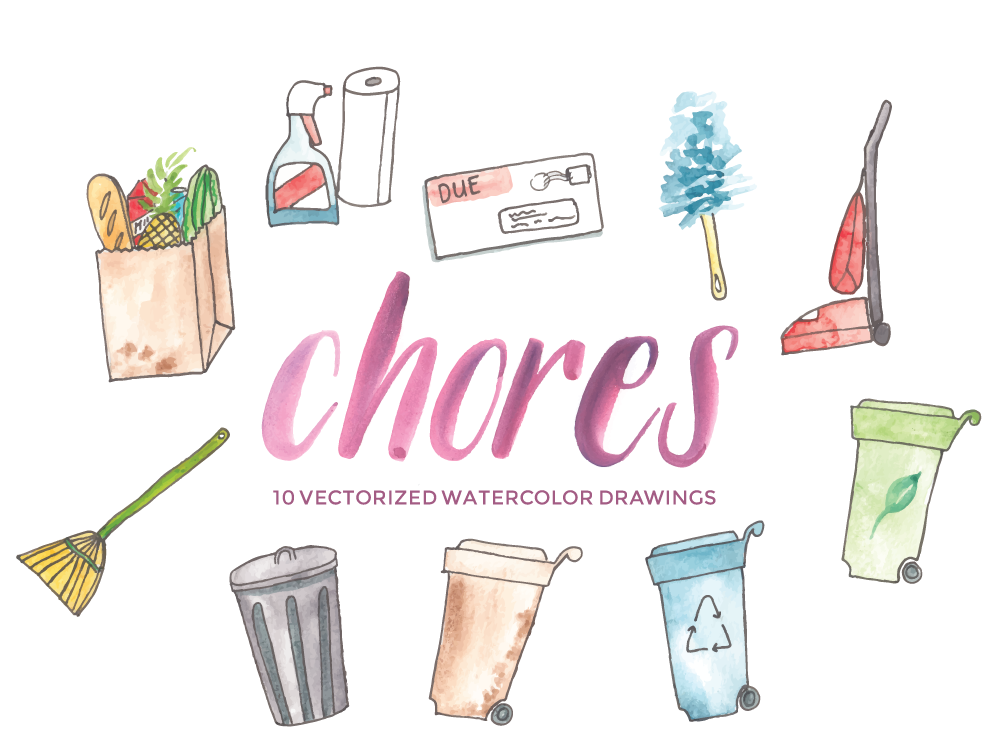 Chores and cleaning vector watercolor clip art hello brio studio