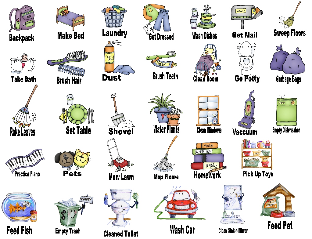 Chores clip art printable pictures and free printable on