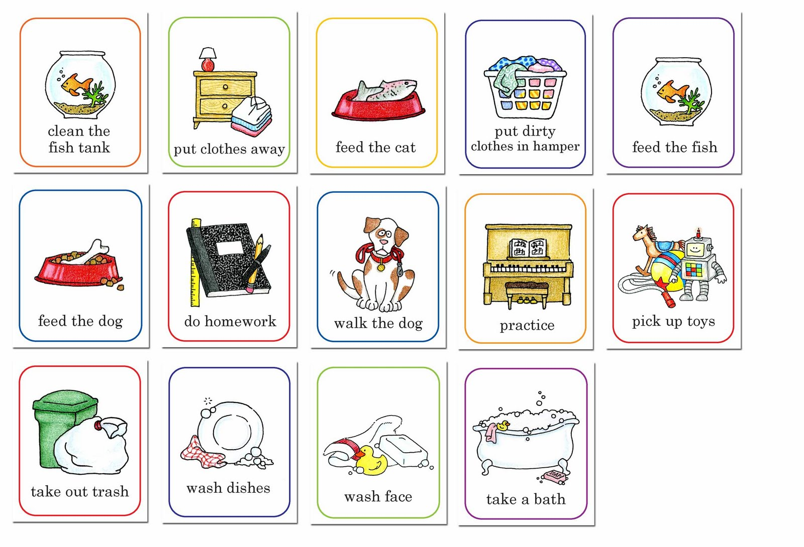 Chores susan fitch design job chart clip art