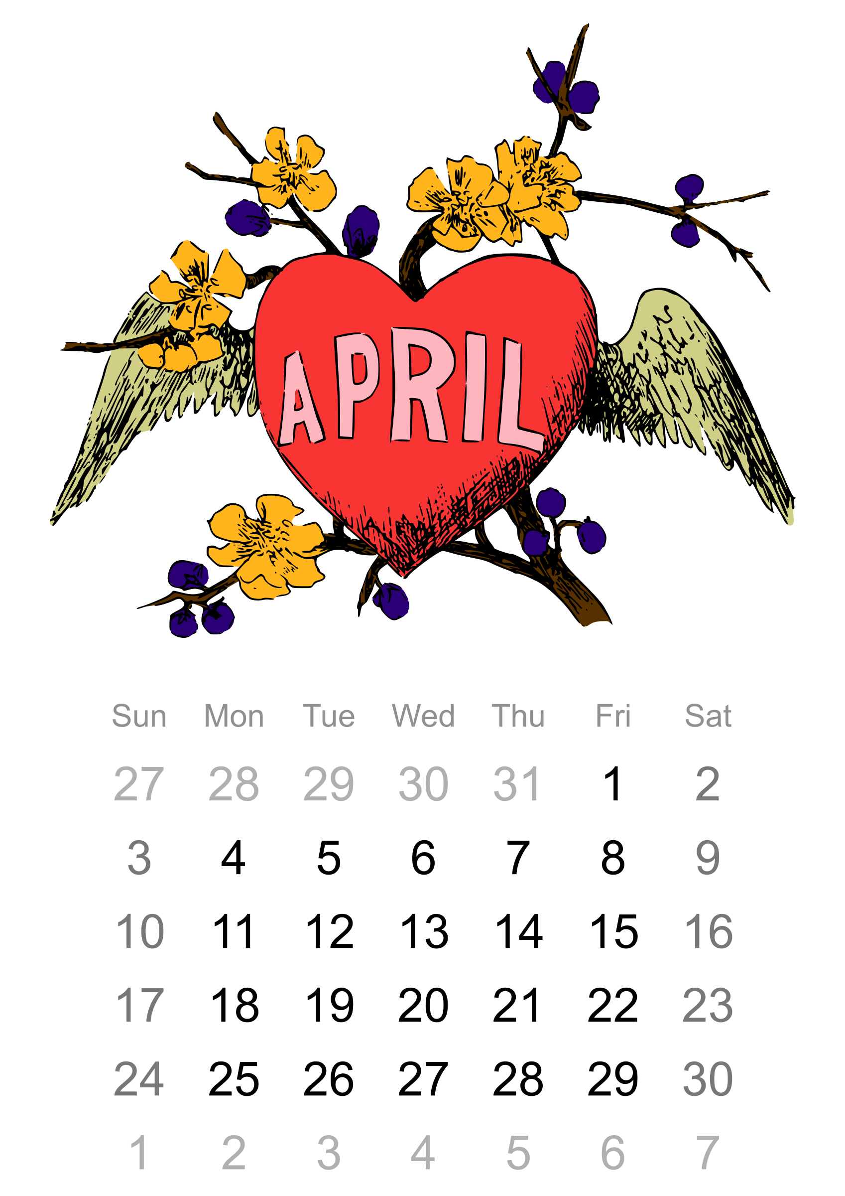 Clipart 6 april calendar