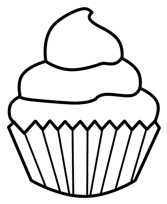 Cupcake outline. Black and white clipart