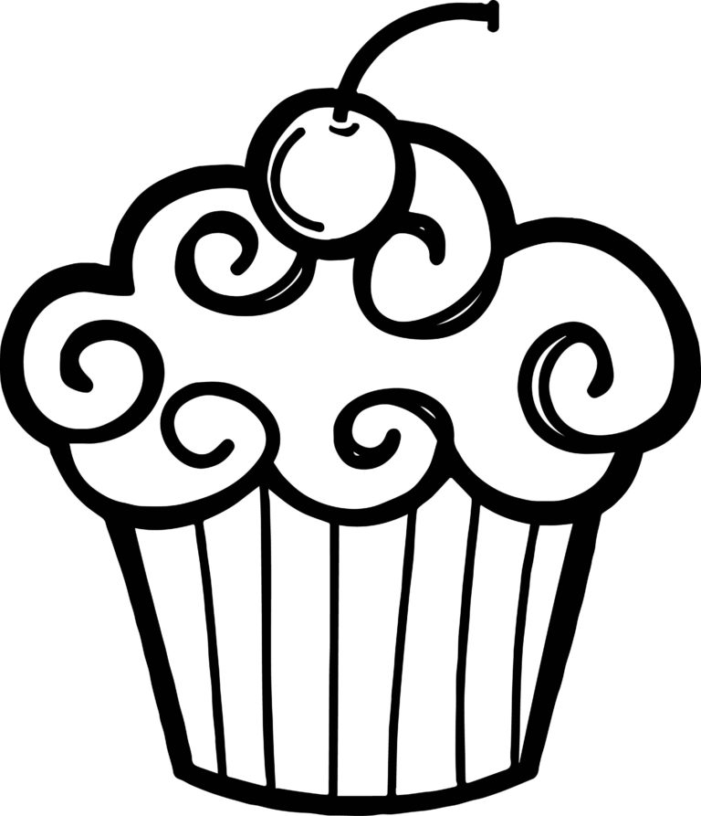 Cupcake Black And White Image Of Birthday Clipart Black And White