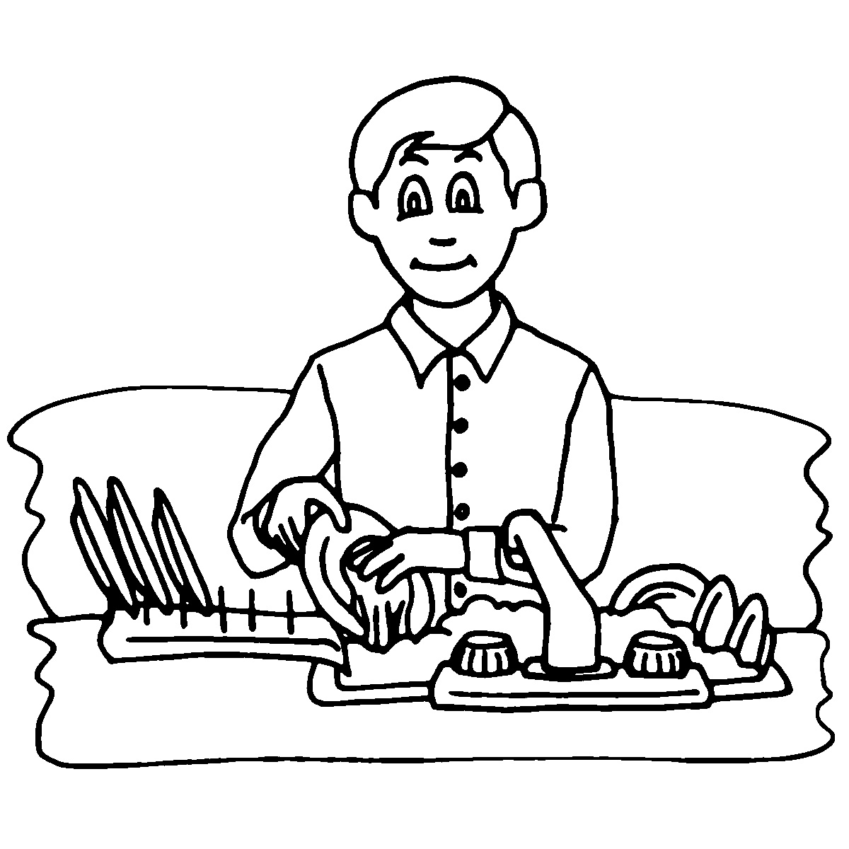 Doing dishes chores clipart