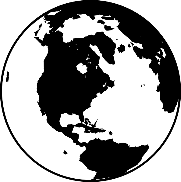 Globe earth clipart black and white free images 4