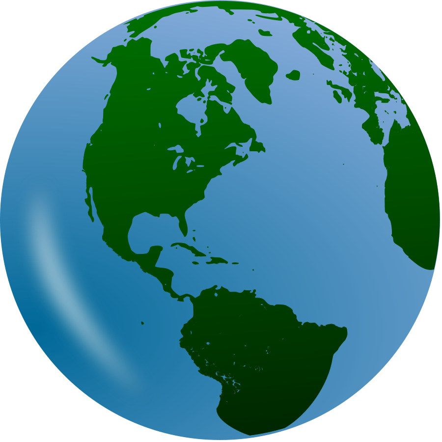 Globe earth on planet clip art and day