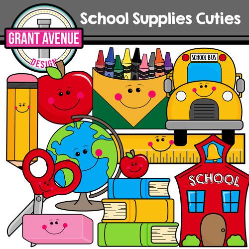 Grant avenue design cute school supplies clipart