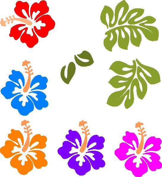 Hawaiian flower border clipart 3