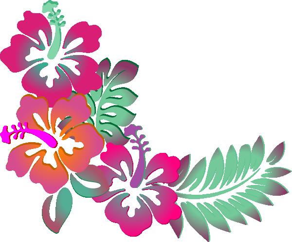 Hawaiian flower border clipart 4