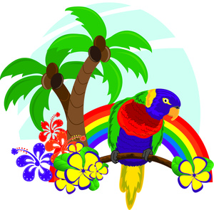 Hawaiian flower tropical clipart image hawaiian scene with rainbow