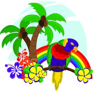 Hawaiian flower tropical clipart image hawaiian scene with rainbow