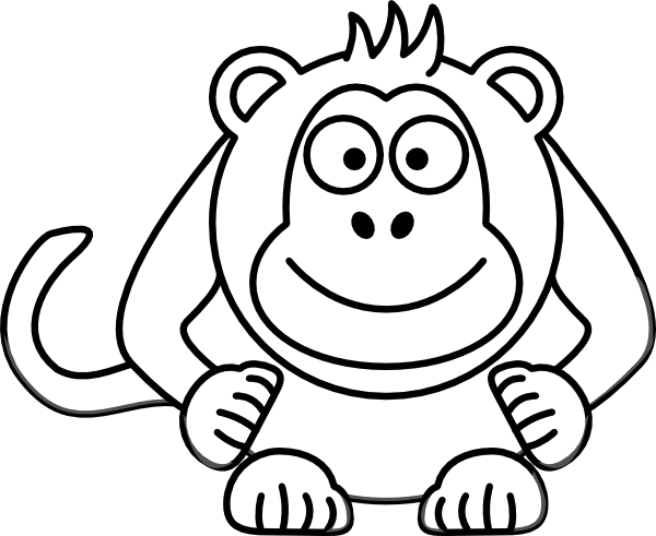 Monkey  black and white cartoon black and white monkey clipart