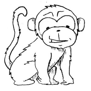 Monkey  black and white monkey clip art black and white free clipart images 4