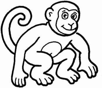 Monkey  black and white monkey clipart black and white 2