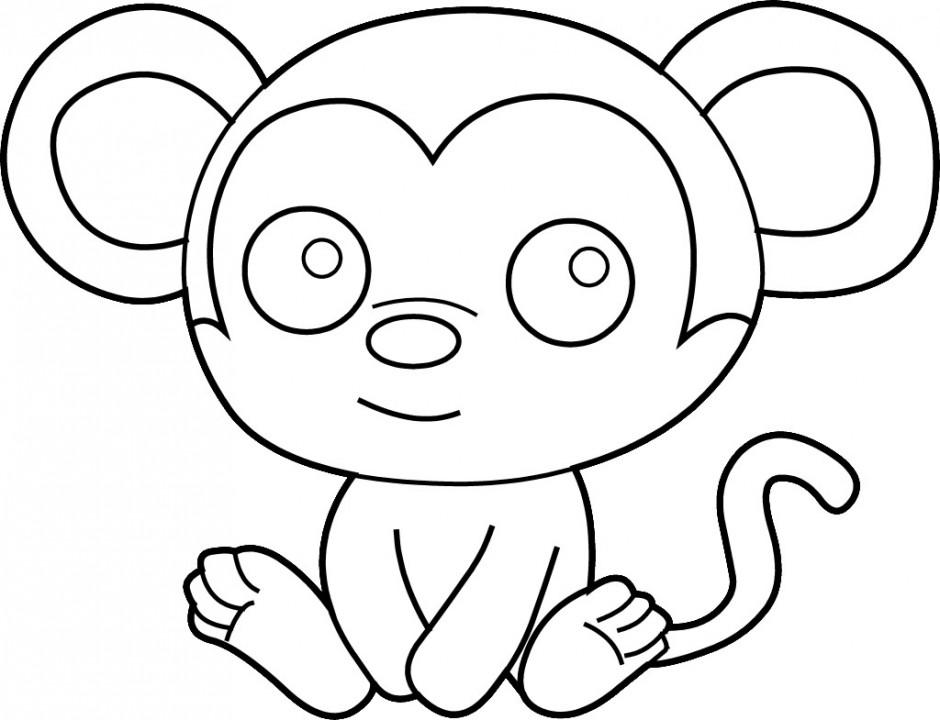 Monkey  black and white monkey images clip art