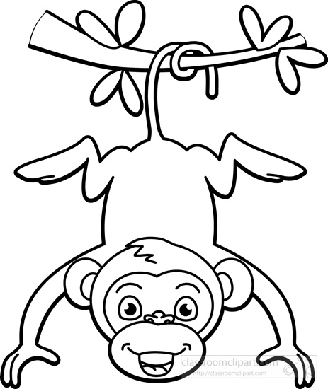 Monkey  black and white monkey outline clipart