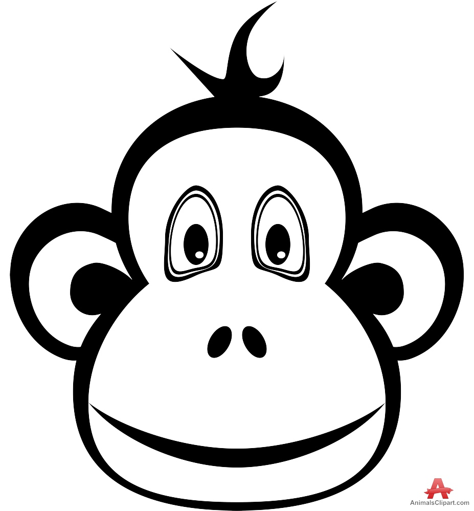Monkey  black and white outline monkey clipart design free download