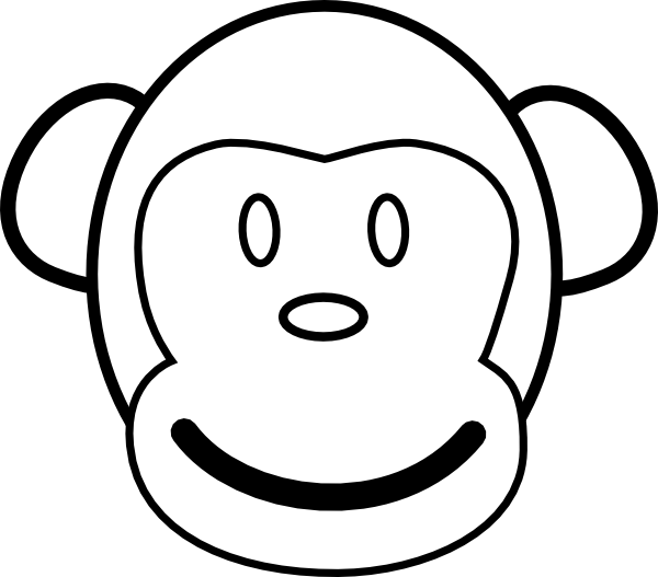 Monkey  black and white pics of monkey clip art coloring pages black and white 4