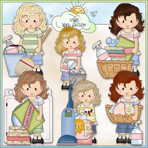 Mother doing household chores clipart 2