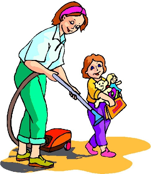Mother doing household chores clipart 3